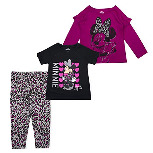 Disney 3-Piece Girls Mickey or Minnie Mouse Leggings, Long and Short Sleeve Shirts, Pink- 4T