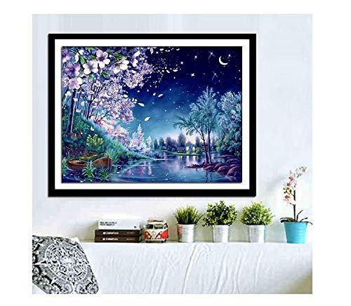 Maak je eigen Mooie Romantische Nachtzicht Pleister Muur Schilderen Decoratieve Schilderij 120 * 75cm