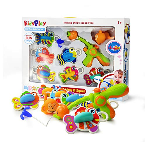 Eono Amazon Brand Juguetes Bañera para Bebé, Juego Pescar Peces, con Goma Flotante de Baño y Pistola de Agua, 8 Piezas