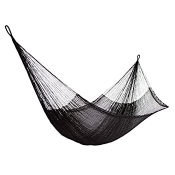 NOVICA Black Nylon Hand Woven Mayan Rope 2 Person XL Hammock with Hanging Accessories Black Relaxation   Double
