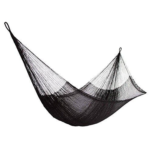 NOVICA Black Nylon Hand Woven Mayan Rope 2 Person XL Hammock with Hanging Accessories, Black Relaxation' (Double)