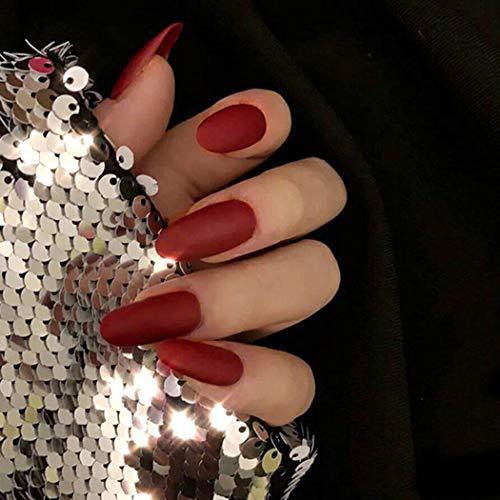 Handcess Ovalado Mate Falso Uñas Bailarina Roja Presione en las uñas Color puro Cubierta completa Puntas de uñas falsas para mujeres y niñas