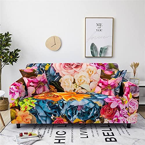 Meiju Flores Fundas de Sofá Elasticas de 1 2 3 4 Plazas Universal Decorativas Funda Cubre Sofas Ajustables, Antideslizante Protector Cubierta de Muebles (Clásico,1 Plaza - 90-140cm)