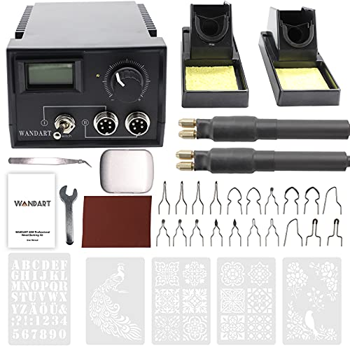 Professional Wood Burning Kit, Wandart 60W Wood Burning Tool Pyrography Kit with Dual Wood Burner 20 Woodburning Wire Nibs Tips including Ball Tips and 5PCS Stencils