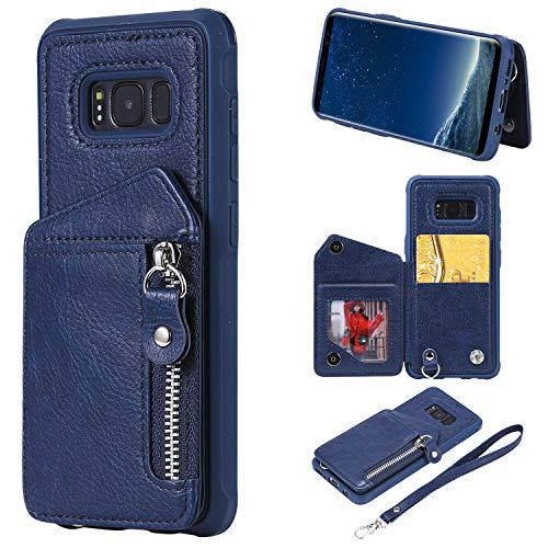 FNBK Kompatibel mit Hülle Samsung Galaxy S8 Handyhülle Blau Reißverschluss Brieftasche Lanyard Leder hülle Wallet Flip Cover Stand Weich TPU Schutzhülle Kartenfach Geldbeute Magnet Handtasche