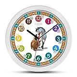 Cander Berlin MNU 1830 Kinderwanduhr Pferd Hund lautlos 30,5 cm geräuschlos Lernuhr Lernzifferblatt Kinderzimmer farbenfroh - Ablesen der Uhrzeit Lernen