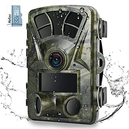 """Heegomn Trail Camera 16MP 1080P Hunting Game Cameras with 32GB SD Card,IP66 Waterproof 120°Wide-Angle Motion Night Vision Wildlife Camera, 0.2s Trigger Time 2.4"""" LCD for Wildlife Monitoring"""