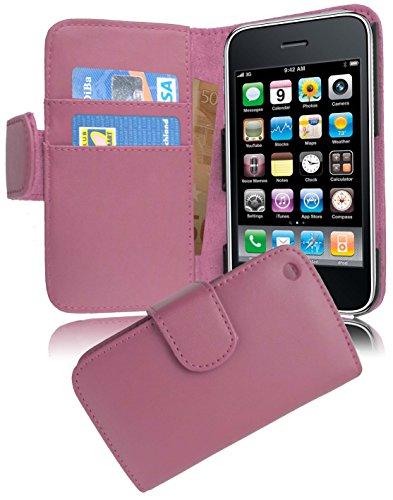 Cadorabo Hülle für Apple iPhone 3 / iPhone 3GS - Hülle in ANTIK ROSA – Handyhülle mit Kartenfach aus glattem Kunstleder - Case Cover Schutzhülle Etui Tasche Book Klapp Style