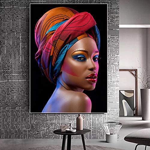 adgkitb canvas Mujer Africana Negra Labios Rojos Lienzo Pintura Cuadros Carteles e Impresiones Imagen de Arte de Pared para Sala de Estar A 30x45cm Sin Marco