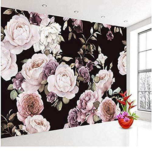XHXI Papel pintado de foto 3D personalizado Mural pintado a mano negro blanco Rosa peonía flor Mural Pared Pintado Papel tapiz 3D Decoración dormitorio Fotomural sala sofá pared mural-430cm×300cm