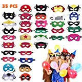 Hossom Superhelden Masken, Filz Superhero Cosplay Party Masken, Filz Masken, 35 Stücke Superheld...