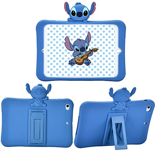 Logee Kickstand Case for iPad Mini 1/2/3,3D Cartoon Animal Cute Soft Silicone Rubber Character Design Blue Holder Stand Cases,Kawaii Fashion Fun Cool Protective Cover for Kids Child Teens Girls