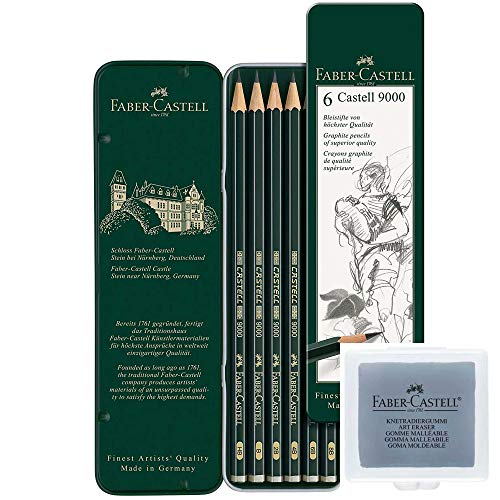 Faber-Castell 119063 Bleistift Castell 9000, 6-er Etui + Knetgummi / Knetradierer