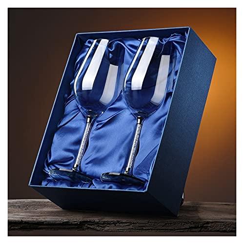 Hogar Cristal Vidrio de Vino Rojo hogar cáliz 2 Juego de Regalo de cumpleaños Champagne de Cristal Caja de Regalo HMLIFE (Color : 250ml)