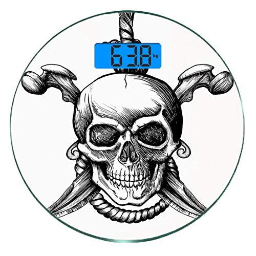 Digitale Präzisionswaage für das Körpergewicht Runde Pirat Ultra dünne ausgeglichenes Glas-Badezimmerwaage-genaue Gewichts-Maße,Jolly Roger Skull mit zwei Messerknochen und hängendem Seil Gothic Crimi