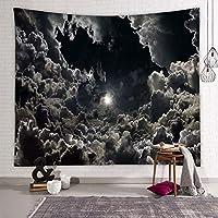 """星空のタペストリー宇宙風景の壁掛け銀河の壁掛け月黄色い惑星ヒッピータペストリーボヘミアンの壁掛けタペストリー D-70.8""""×90.5"""""""
