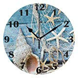 Jacque Dusk Reloj de Pared Moderno,Playa Concha De Madera,Grandes Decorativos Silencioso Reloj de Cuarzo de Redondo No-Ticking para Sala de Estar,25cm diámetro