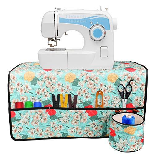 Maxjaa Almohadillas para máquina de coser para mesa, almohadilla para mesa de coser impermeable plegable con bolsillos, organizador de accesorios para máquina de coser de tela Oxford, 26 x 26 pulgadas