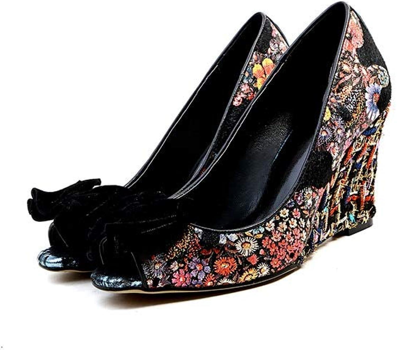 MENGLTX High Heels Sandalen Neue Frauen Pumpt Mode Mischfarben Sommer Schuhe Top Qualitt Peep Toe Bowknot Elegante Keile Schuhe Freizeitschuhe