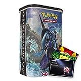 Lively Moments Cartas Pokémon en caja Tin-Box Deck-Protector Tapu Fini EN, cartas coleccionables / caja de metal y tarjeta de felicitación gratis