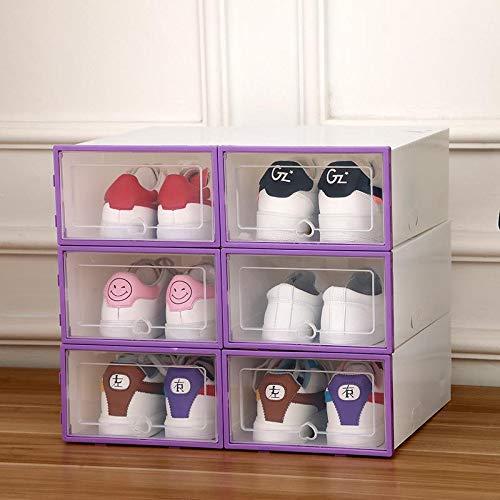 Dljyy Caja de almacenamiento plegable con 6 compartimentos para zapatos, con lado de inicio, transparente, portátil, a prueba de polvo, 3 unidades, 4 (color: 3 unidades, talla: 5)