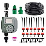 DricRoda Automatic Watering System with Digital Timer, Drip Irrigation Kits Garden Irrigation Equipment, 33ft 1/4' Blank Distribution Tubing Hose for Garden, Flower Bed, Lawn
