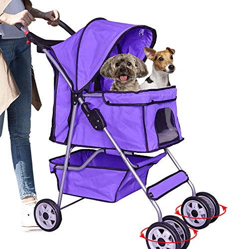 4 Wheels Pet Stroller Dog Stroller Cat Stroller Pet Jogger Stroller 35lbs Capacity Travel Lite Foldable Carrier Strolling Cart W/Cup Holders Removable Liner for Medium and Small Dog,Purple