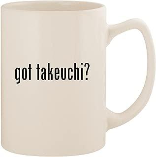 got takeuchi? - White 14oz Ceramic Statesman Coffee Mug Cup