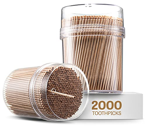 2000 Pieces Wooden Toothpicks | Reusable Container | Sturdy Smooth Finish Tooth Picks |Ornate Handle Cocktail Picks | Toothpicks For Appetizers | Toothpicks Wood