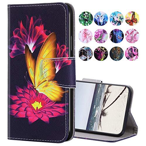 URFEDA Kompatibel mit Samsung Galaxy A50 Hülle Leder Handytasche Brieftasche Schutzhülle mit Bunt Muster Flip Hülle Stand Ständer Kartenfach Magnetverschluss Ledertasche Klapphülle,Gold Schmetterling