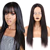 Huarisi Brazilian Straight Hair Wig T Part Wigs Human Hair Lace Front 150% Density Breathable Middle Parting Lace Wig 22 Inch Virgin Hair Wigs without Fringe Natural Color Amazon