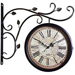 L&J Clock Double Sided Outdoor Wall Clock On Station Support Clock Station Round Round with Rolling Side Wall Decor Home Decor Metal Housewife 4.13 (Size : A)