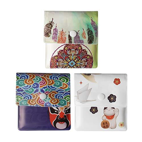 Cenicero de bolsillo Androxeda de 3 bolsos grises - PVC ignífugo - sin aroma - compacto portátil - Libro de estilo y cara chino de diseño exclusivo