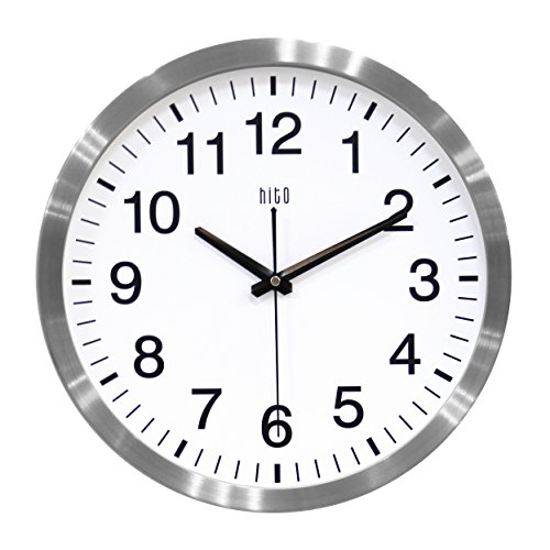 hito Silent Wall Clock Non Ticking 14 inch Large Oversized Excellent Accurate Sweep Movement Aluminum Frame, Decorative for Kitchen, Living Room, Bedroom, Office, Classroom (Silver)