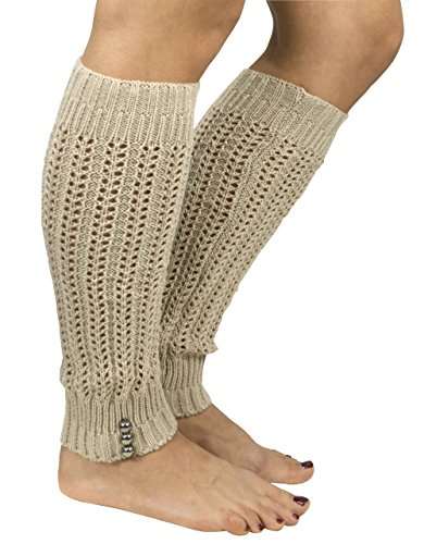 Peach Couture Womens Knitted Crochet Ribbed Cable Knit Long Leg Warmers Buttoned Crochet Tan