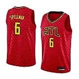 Camiseta de Baloncesto para Hombre NBA Atlanta Hawks 6# Omari Spellman Cómodo/Ligero/Transpirable Malla Bordada Swing Swing Sworing Sweatshirt,S