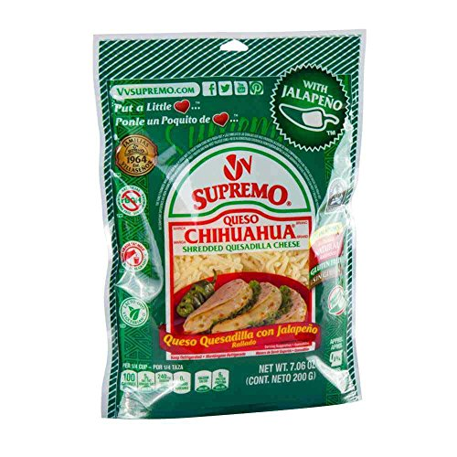 Supremo Queso Chihuahua Jalapeno Shredded Cheese, 7.06 Ounce -- 12 per case.