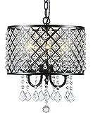 Berliget 3-Lights Antique Black Crystal Chandelier, Glam Round Beaded Drum Pendant Hanging Light Ceiling Fixture for Living Room, Kitchen, Dining Room, Bar, Restaurant, Hallway