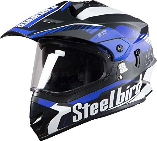 Steelbird SBH-13 Bang Airborne Matt Black and Blue with plain visor,600 mm