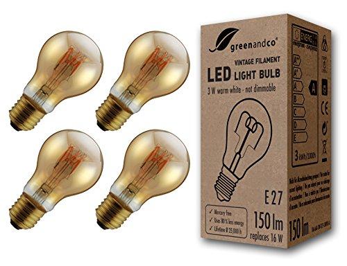 4x greenandco® Vintage Glühfaden LED Lampe ersetzt 16W E27 3W 150lm 2000K extra warmweiß 360° 230V flimmerfrei, nicht dimmbar, 2 Jahre Garantie