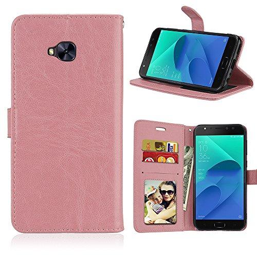 Laybomo Schuzhülle für Asus Zenfone 4 Selfie Pro ZD552KL Hülle Ledertasche Weiches Gummi Silikon TPU Beutel Stehen Bilderrahmen Brieftasche Schale Tasche Handyhülle für Asus ZD552KL (Rose)