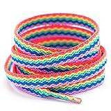 Booyckiy Flat Colorful Fashion Shoelaces, 5/16' Rainbow Stripe Shoe Laces for Sneakers Blue Purple Rainbow 47inch (120cm)