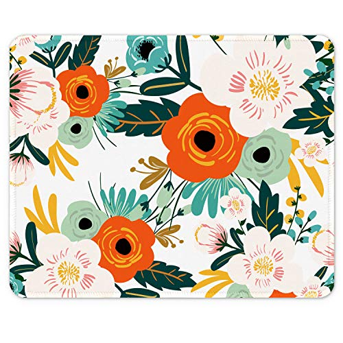 Auhoahsil Mouse Pad, Square Floral Design Anti-Slip Rubber Mousepad with Stitched Edges for Gaming Office Laptop Computer PC Women Men Kids, Pretty Custom Pattern, 9.8 x 7.9 in, Orange Pepper Flowers