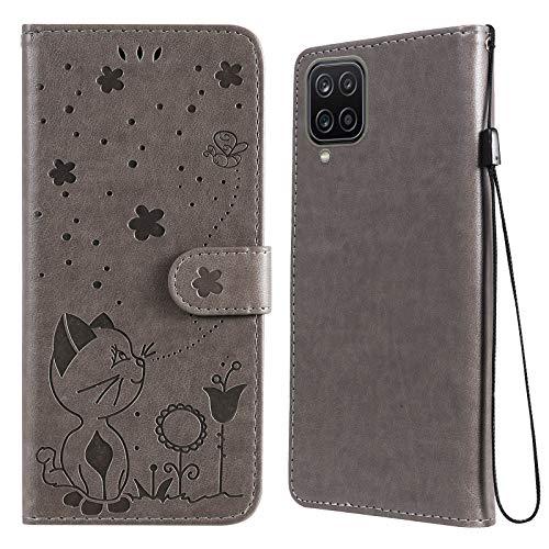 N\W JRIANY para Funda Samsung Galaxy A12 Carcasa Billetera con Tapa Cubierta Libro Protectora Antigolpes de Cuero con Diseño de Gato 3D Ranura Tarjeta y Soporte Plegable Caso Cartera, Gris