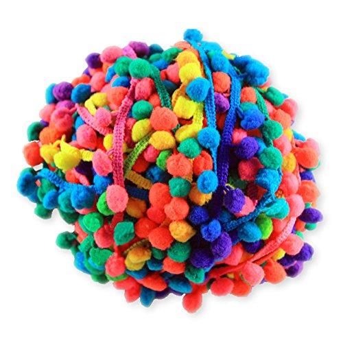 Yalulu 20Yards Rainbow Pom Pom Trim Ball Fringe Ribbon DIY Sewing Accessory...