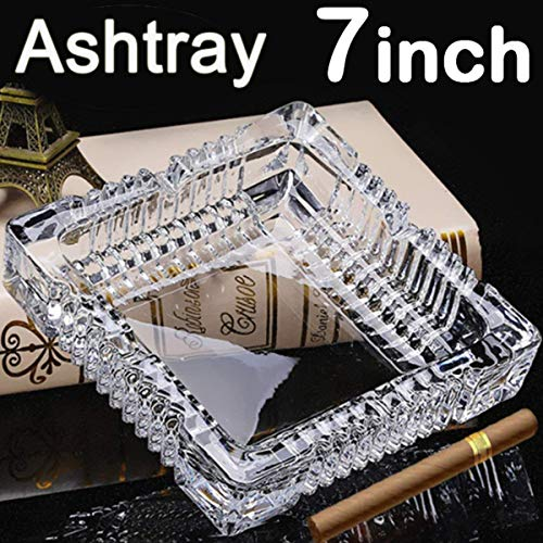 BSWEEII Large Square Glass Ashtrays for Cigars and Cigarettes Big Ashtray Outdoor for Patio Tabletop Decorative Ashtrays for Home Outside Indoor Restaurant Cigar Ashtrays for Men 7inch