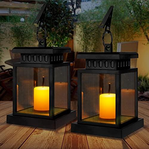 Solarlaterne für Außen Gartendeko, IP55 Wasserdicht Mini Solar Laterne Aussen mit LED Kerzen Effekt, Solar Gartenlaternen Outdoor Hängende Laternen Festive Beleuchtung für Draußen Garten (2 Stück)