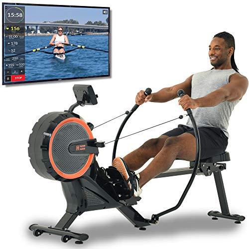 Women's Health Men's Health Bluetooth Dual Handle Rower Rowing Machine with MyCloudFitness App (1678), Black