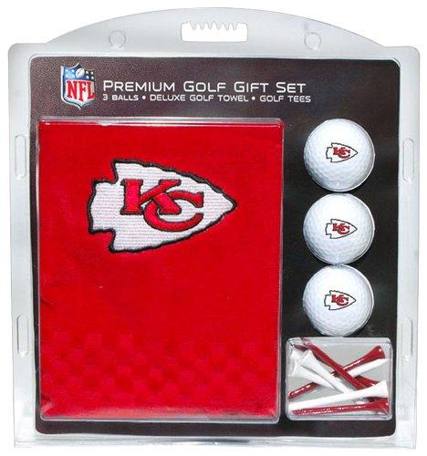 Team Golf NFL Kansas City Chiefs Geschenkset Besticktes Golf-Handtuch, 3 Golfbälle und 14 Golf-Tees 6,5 cm Regulierung, dreifach gefaltetes Handtuch 40,6 x 55,9 cm und 100 % Baumwolle