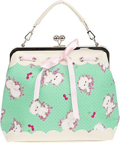 Küstenluder Damen Tasche Dalene Cherry Kätzchen Punkte Bag (Apfelgrün mit Muster)